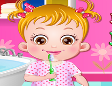 Fetita Hazel se Spala pe Dinti