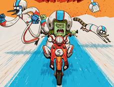 Mordecai si Rigby Cascadorii cu Motocicleta