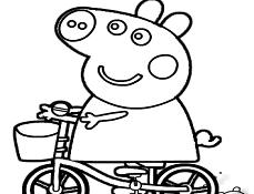 Purcelusa Peppa pe Bicicleta de Colorat